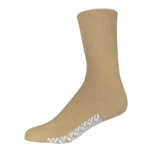 Brown Women's Non Slip Cotton Hospital Sock With White Rubber Grips On The Bottom