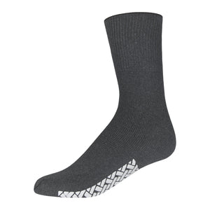 Gray Women's Non Slip Cotton Hospital Sock With White Rubber Grips On The Bottom