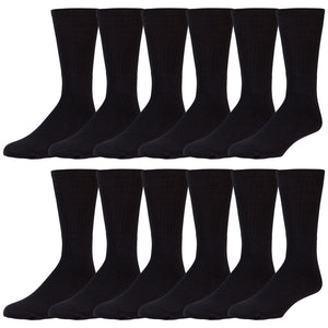 12 Pairs of Cotton Tube Athletic Sport Referee Style Socks, Size 10-13