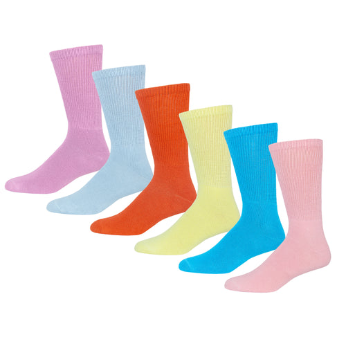 Premium Women's Colorful Soft Breathable Cotton Crew Socks, Non-Binding & Comfort Diabetic Socks (6 Pairs - Fits Shoe Size 6-12)