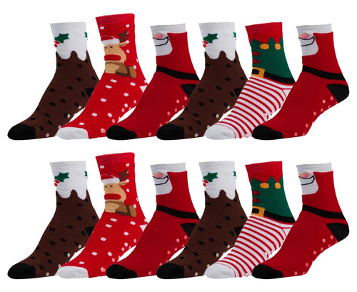 12 Pairs of Women's Christmas Non-Skid Colorful Holiday Socks (Sock Size 9-11)