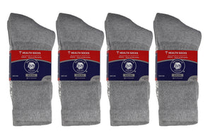 Packs Of Grey Anti Slip Therapeutic Crew Socks With Non Skid Sole And Non Binding Top