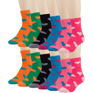 12 Pairs of Fuzzy Cute Fluffy Socks, Heart Patterned, Multicolored, Size 9-11