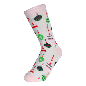 12 Pairs of Women's Christmas Fun Printed Colorful Crew Holiday Socks (Sock Size 9-11)