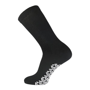 Black Non Slip Diabetic Crew Sock With White Rubber Grips On The Bottom And Loose Top