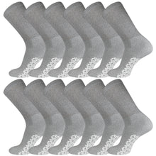 Load image into Gallery viewer, Grey Non-Skid Diabetic Crew Socks With Non Binding Top 12 Pairs Pack