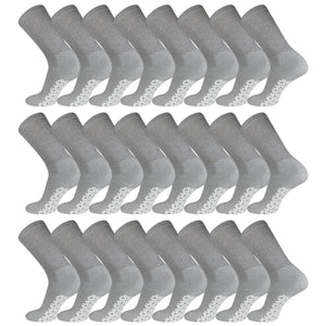 Grey Non-Skid Diabetic Crew Socks With Non Binding Top Bulk 60 Pack