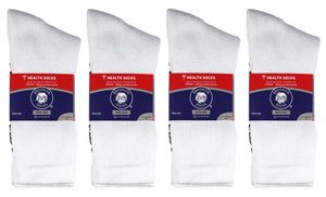 180 Pairs of Non-Skid Diabetic Crew Socks with Non Binding Top (White)