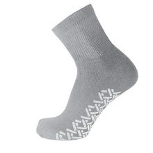 Load image into Gallery viewer, Grey Non Slip Diabetic Cotton Quarter Socks With White Rubber Grips On The Bottom And Loose Top