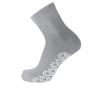 Grey Non Slip Diabetic Cotton Quarter Socks With White Rubber Grips On The Bottom And Loose Top