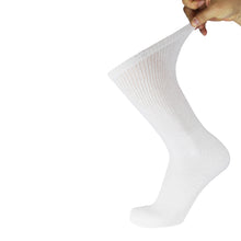 Load image into Gallery viewer, White Cotton Diabetic Crew Sock With Stretched Out Top