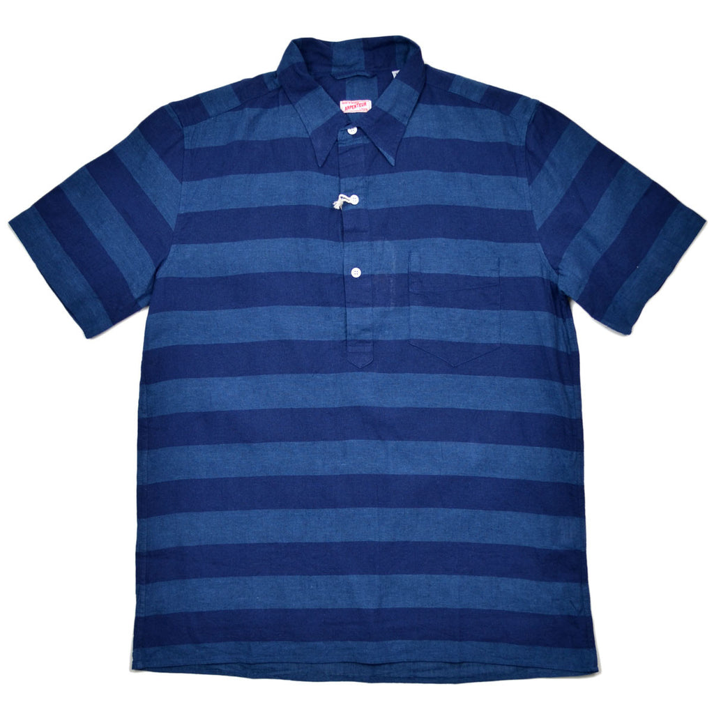 Arpenteur - Eté Short-Sleeve Popover Shirt - Indigo Stripes