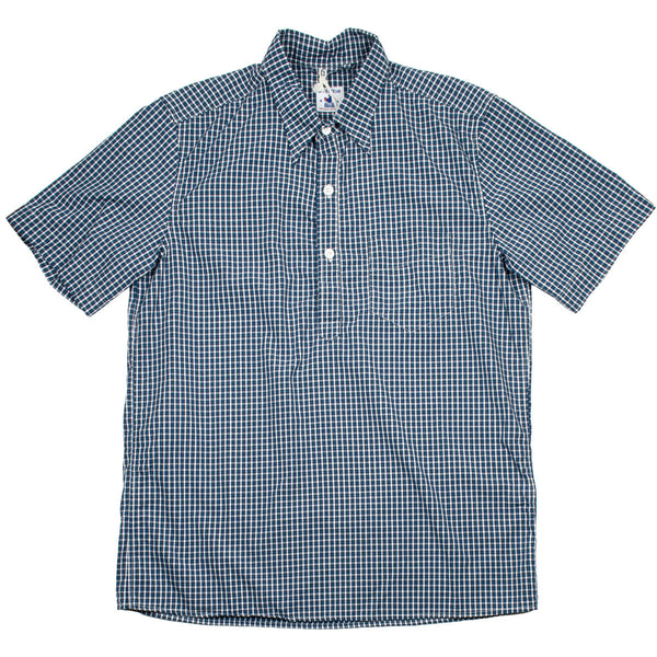 Arpenteur - Eté Short-sleeve Pullover Shirt - Blue / Green Check