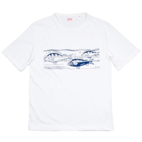 Arpenteur - Micheau Vernez Fish Printed T-shirt - White