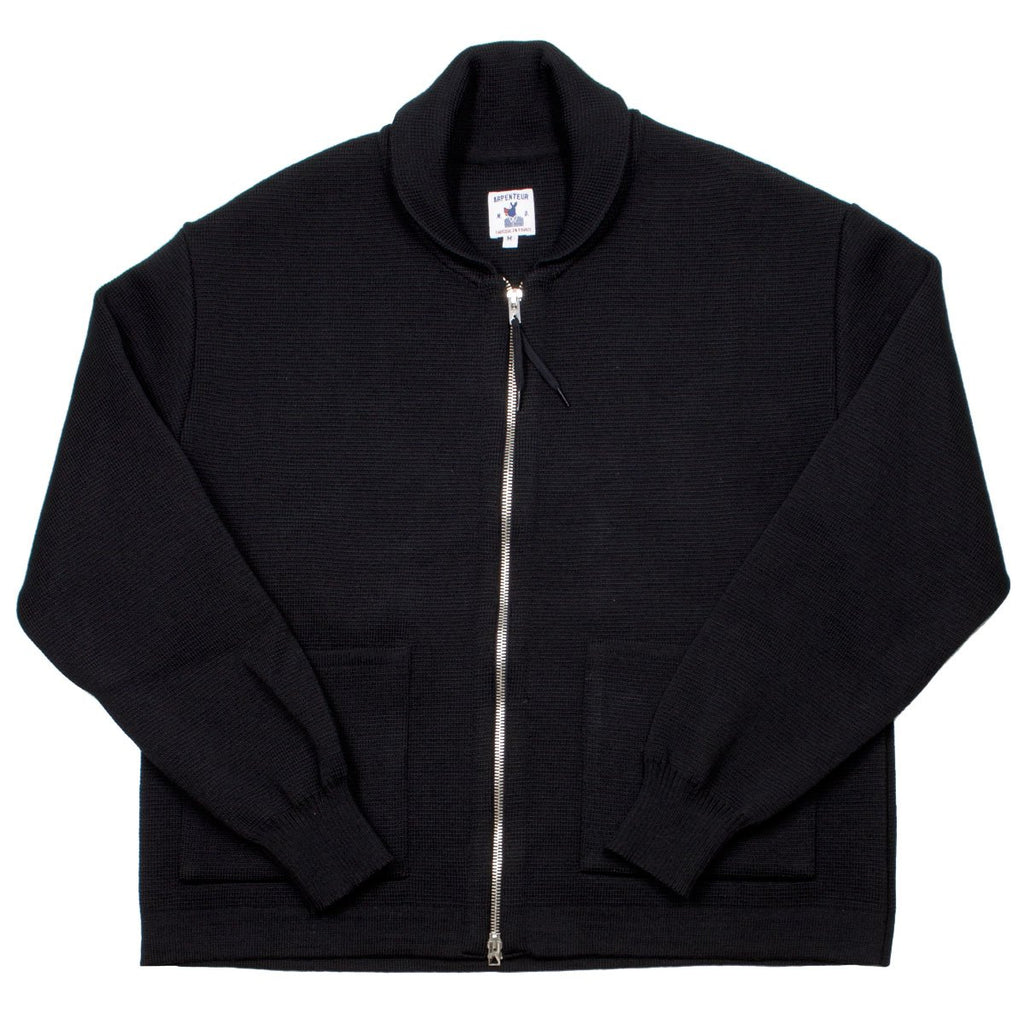 Arpenteur - Roscoff Zipped Cardigan - Black Wool Milano Knit