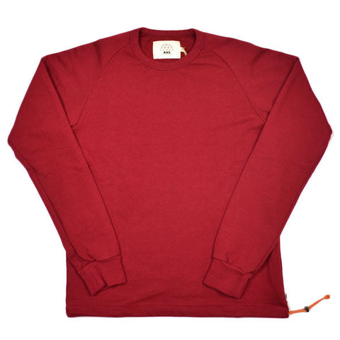 AXS Folk Technology - French Terry Crew Sweatshirt - Deep Oxblood