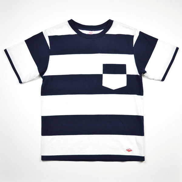 Battenwear – Rugby T-shirt – White and Navy Stripe