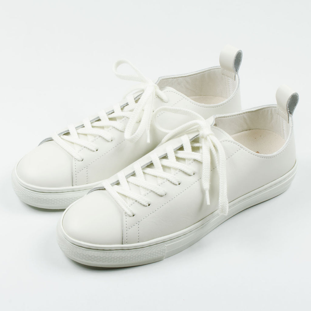 Buddy - Bull Terrier Low Smooth Leather Sneakers - White
