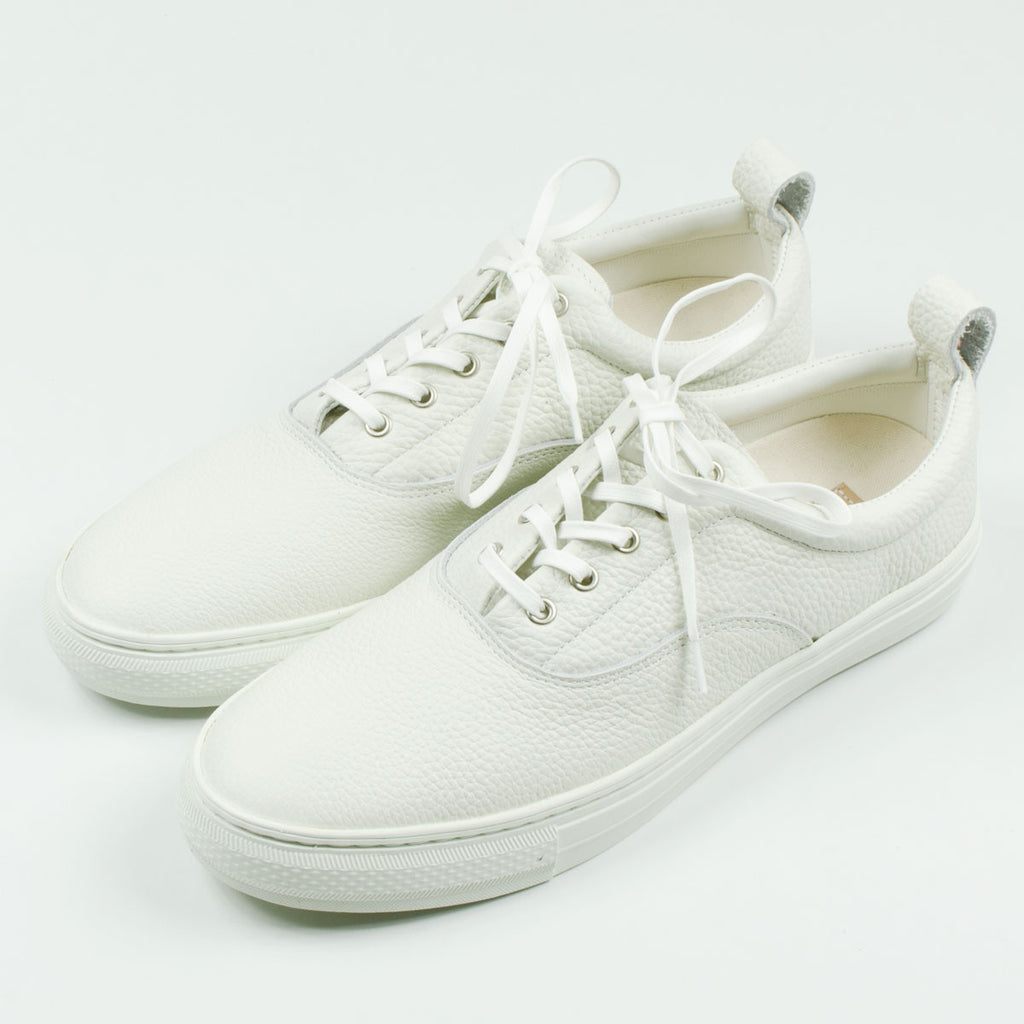 Buddy - Dachs Low Chubby Grain Leather Sneakers - White