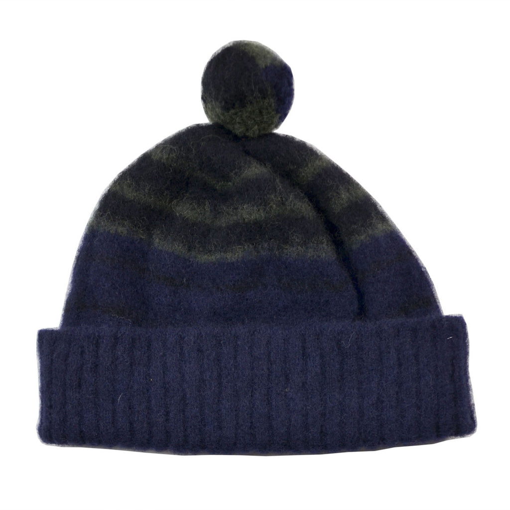 cableami - Shaggy Dog Border Beanie - Navy / Black / Army
