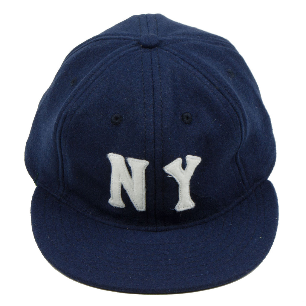 Ebbets - New York Black Yankees Cap (Adjustable Wool Flannel) - Navy