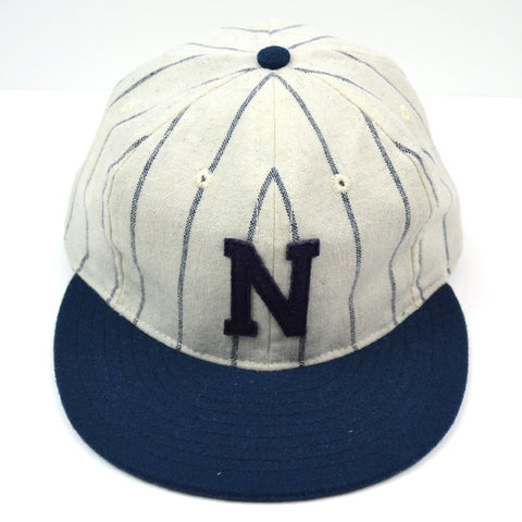 Ebbets - N League Cap (Adjustable Wool Flannel) - White / Navy