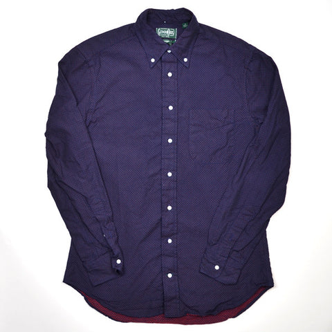 Gitman Vintage - Indigo Pin Dot Shirt - Navy / Red
