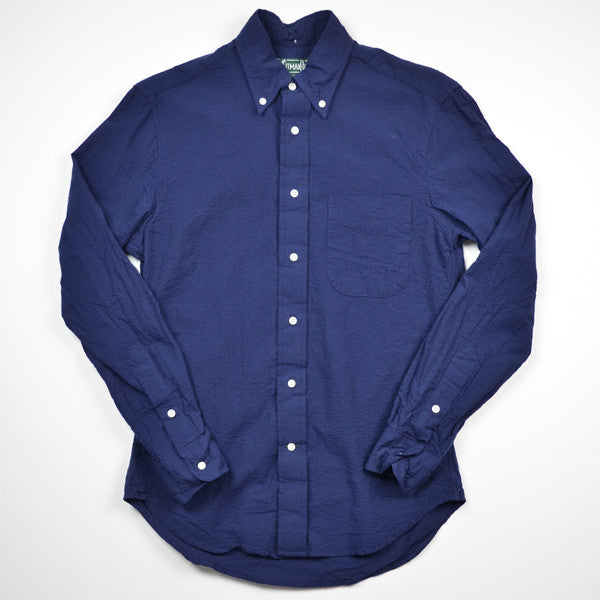 Gitman Vintage – Navy Solid Seersucker Shirt (L/S)
