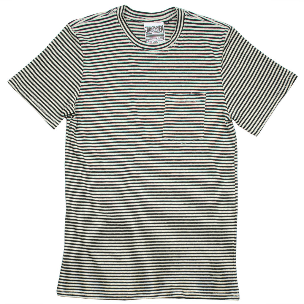 Jungmaven - Men's Yarn-Dyed Pocket Hemp T-shirt 55/45 (6 oz) – Black Stripe