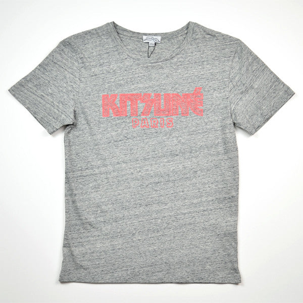 Kitsune Tee – Kiss Tsune Tee – Grey Melange / Red