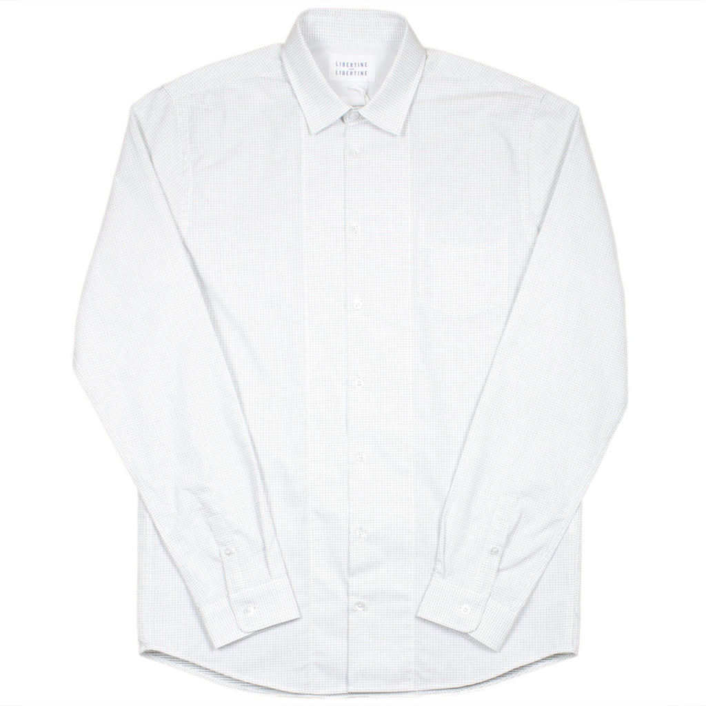 Libertine-Libertine - Passenger Burn Shirt - White with Black Dots