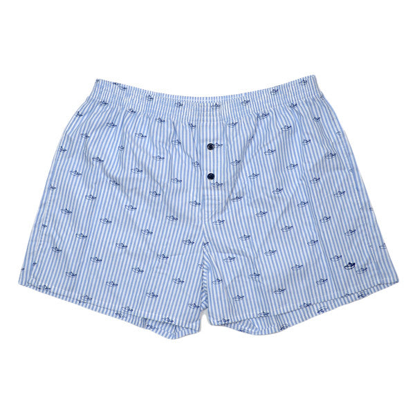 Libertine-Libertine Underwear - Striped Boats Woven Boxer - White / Navy
