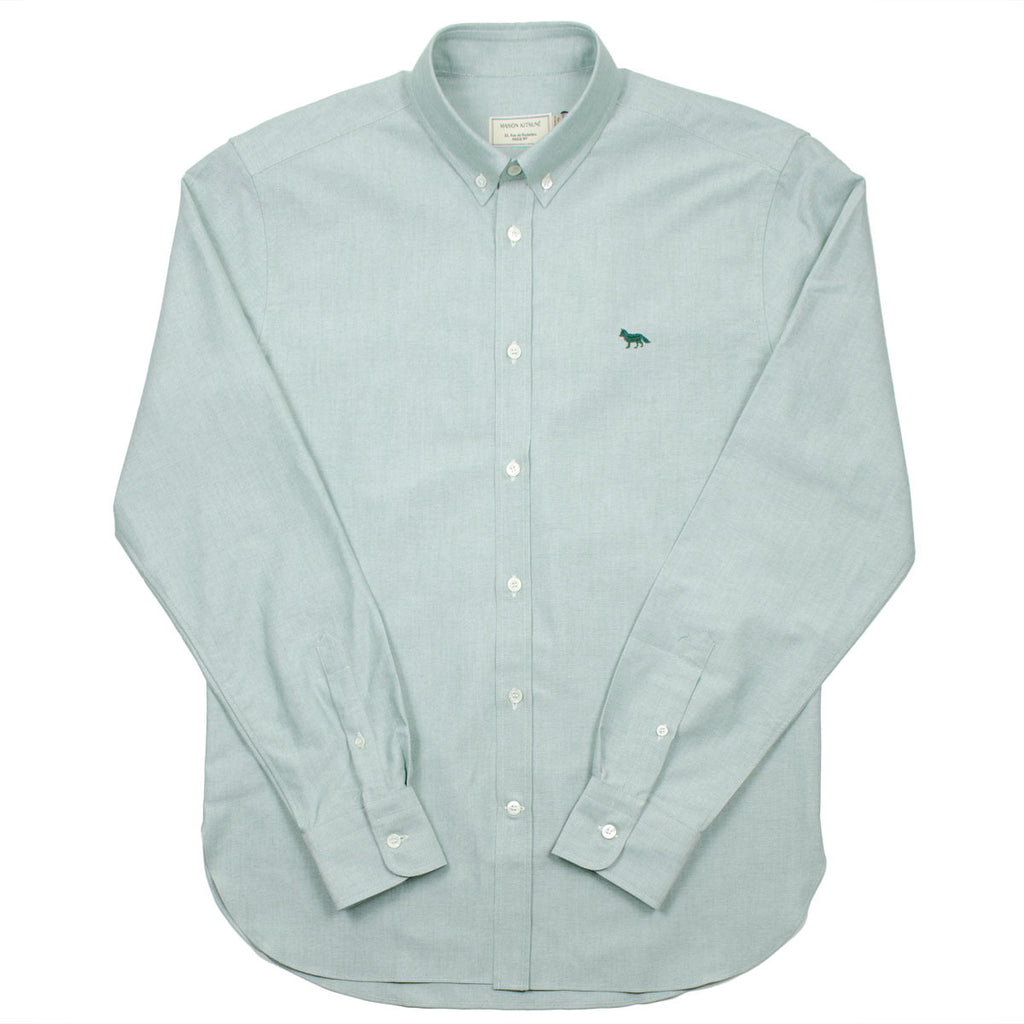 Maison Kitsuné - Classic Oxford Shirt with Embroidery Fox - Khaki