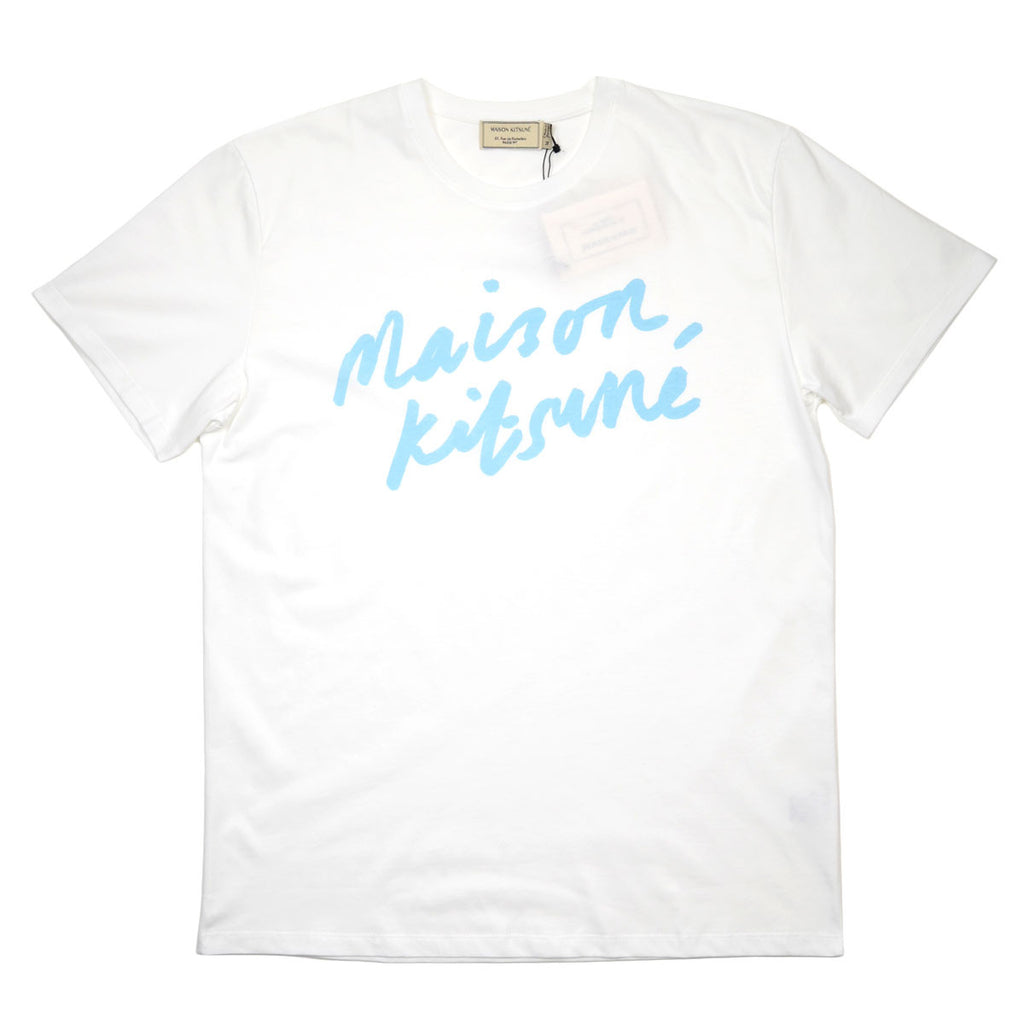 Maison Kitsuné - Handwriting Printed T-shirt - White / Blue