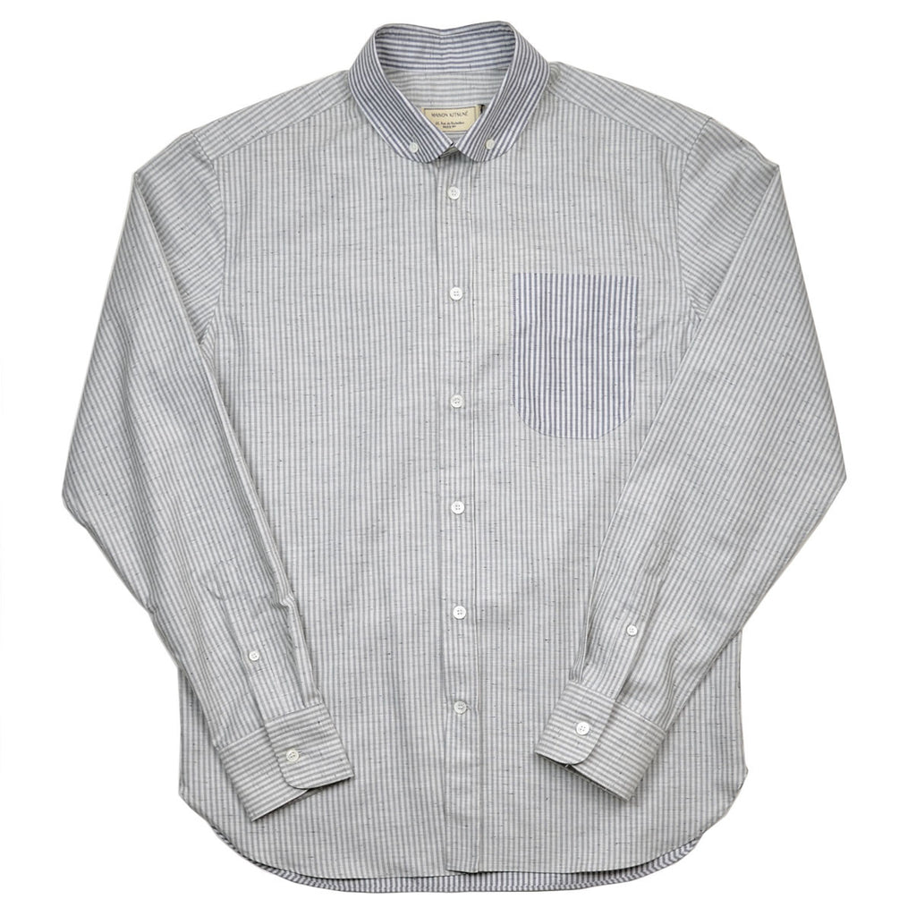 Maison Kitsuné - Irregular Stripes Dress Shirt - Grey Melange