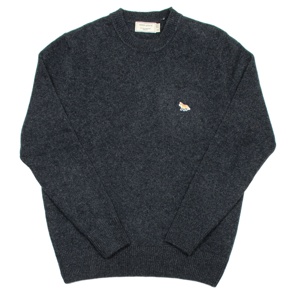 Maison Kitsuné - Lambswool R-Neck Sweater - Dark Grey Melange