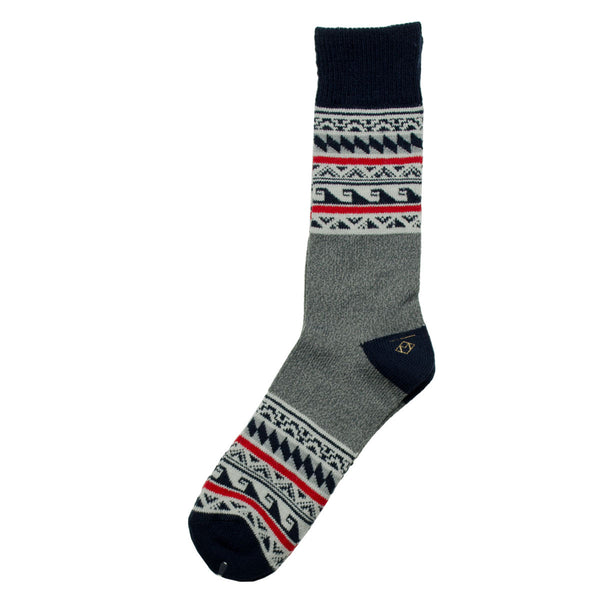 Marcomonde - Patterns Peru Socks - Navy / Grey / Red