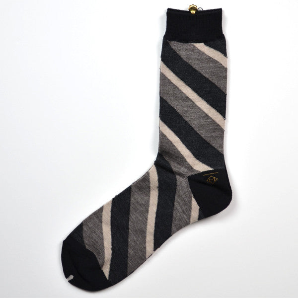 Marcomonde - Striped Socks Wool - Grey / White