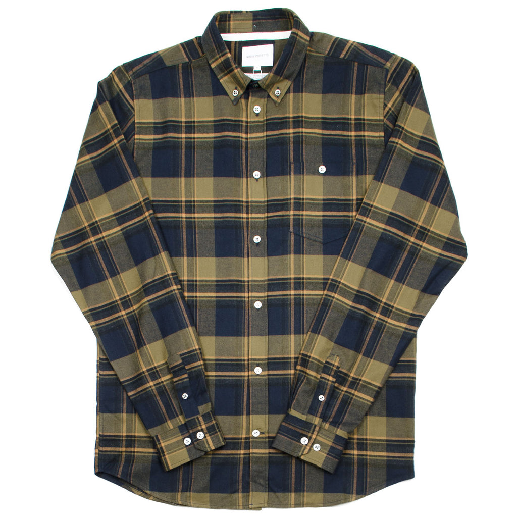 Norse Projects - Anton Brushed Flannel Check Shirt - Ivy Green