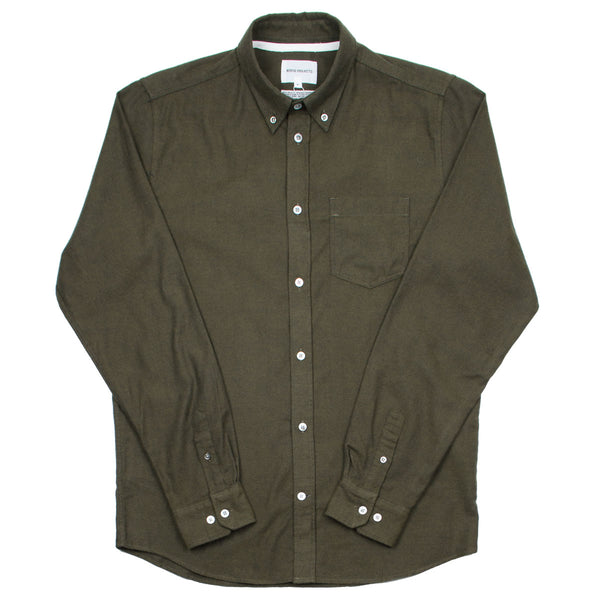 Norse Projects - Anton Brushed Flannel Shirt - Dark Green