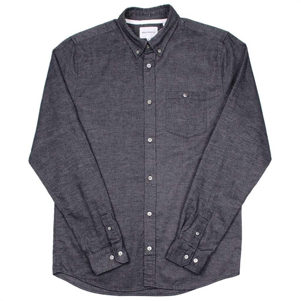 Norse Projects - Anton Brushed Flannel Shirt - Magnet Grey