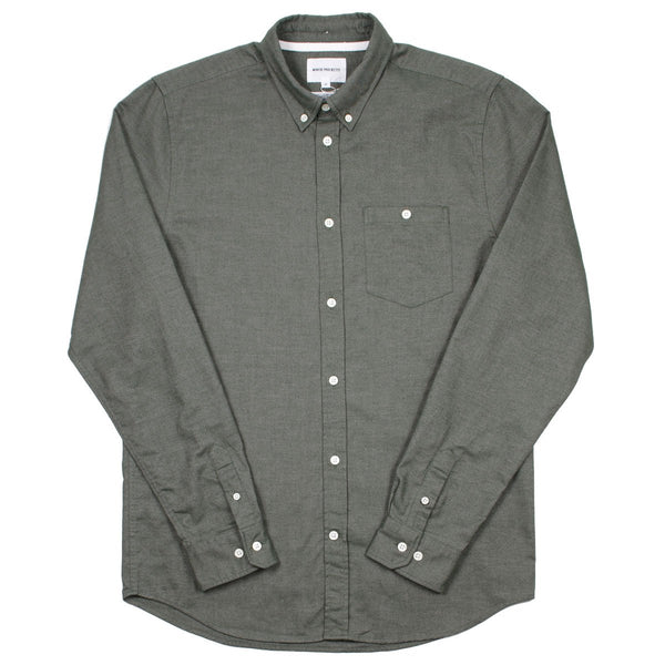 Norse Projects - Anton Brushed Flannel Shirt - Sitka Green