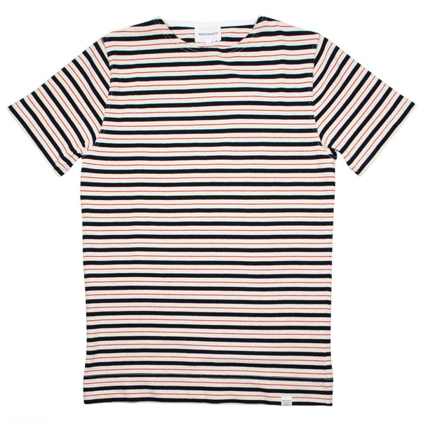 Norse Projects - Godtfred Compact T-shirt - Multi Stripe Askja Red
