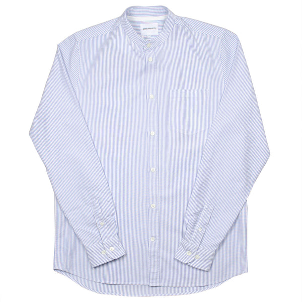 Norse Projects - Hans Collarless Oxford Shirt - Blue Stripe