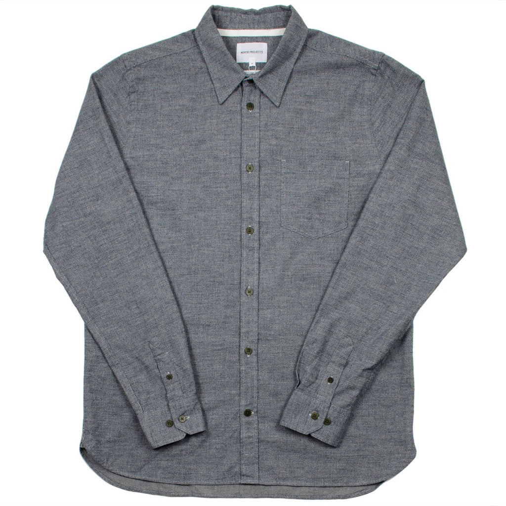 Norse Projects - Hans Mouliné Shirt - Mouse Grey Melange