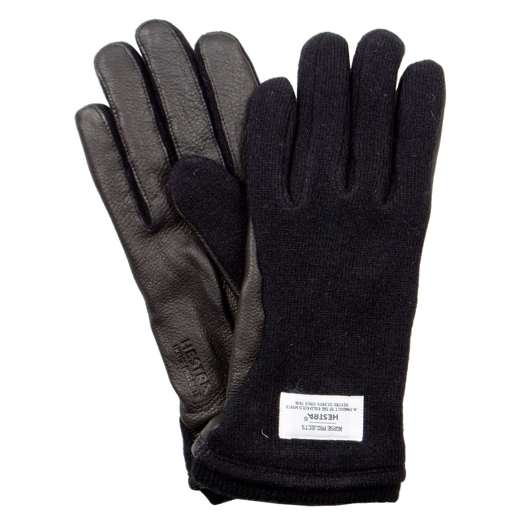 Norse Projects x Hestra - Svante Wool / Leather Gloves - Black
