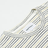 Norse Projects - James Fine Stripe T-shirt - Dried Olive / Ecru