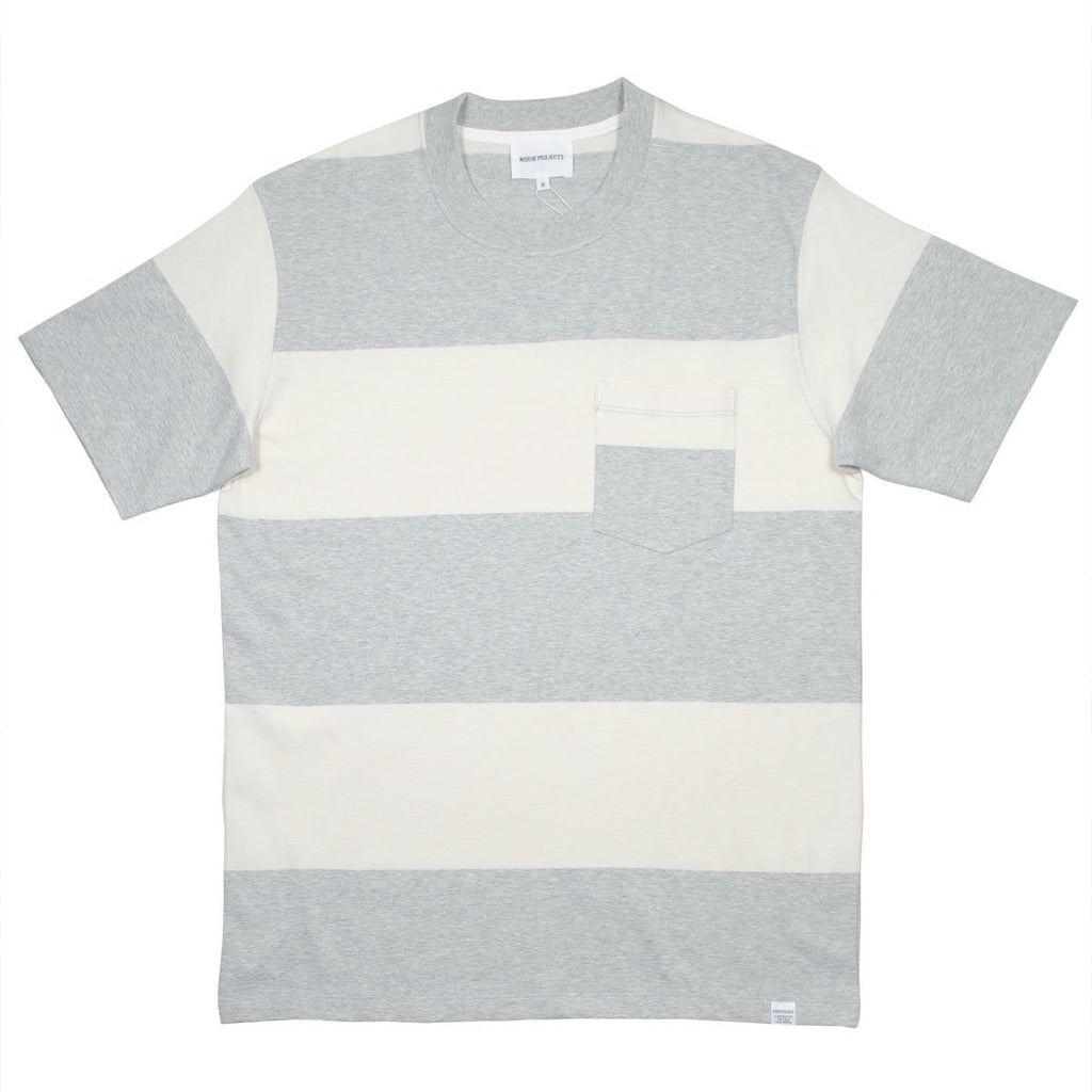 Norse Projects - Johannes Block Stripe T-shirt - Light Grey Melange