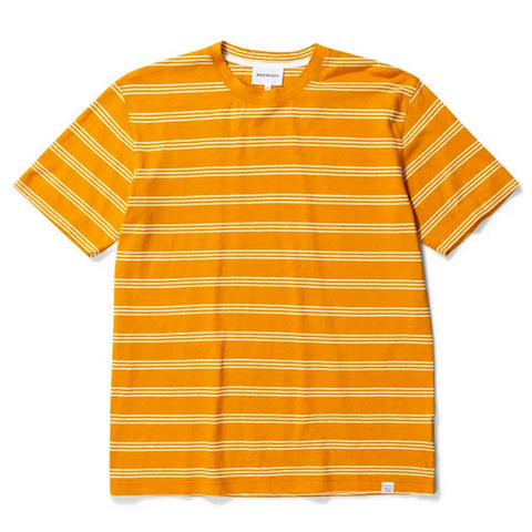 Norse Projects - Johannes Cotton Linen Stripe T-shirt - Cadmium Orange
