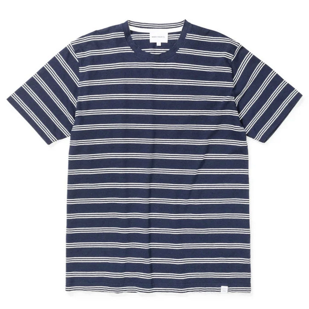 Norse Projects - Johannes Cotton Linen Stripe T-shirt - Dark Navy